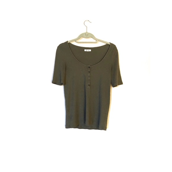 Madewell Tops - Madewell Olive Ribbed 1/4 sleeve Top